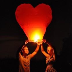 Lampióny šťastia - Sada srdce červené 10ks
